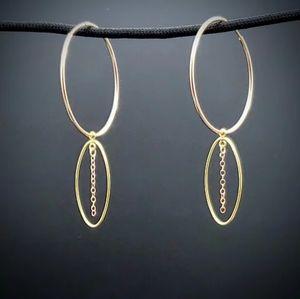 Golden Rose, Double Hoop Dangle Earrings